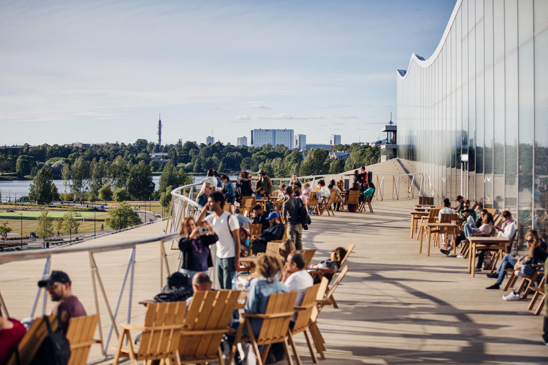 City life at Oodi's summer terrace